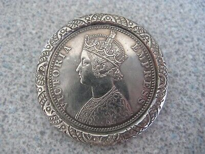 Beautiful Victorian Indian 1890 One Rupee Silver Coin Brooch