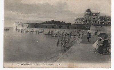 Old L.l Postcard Birchington On Sea The Parade Posted 1908
