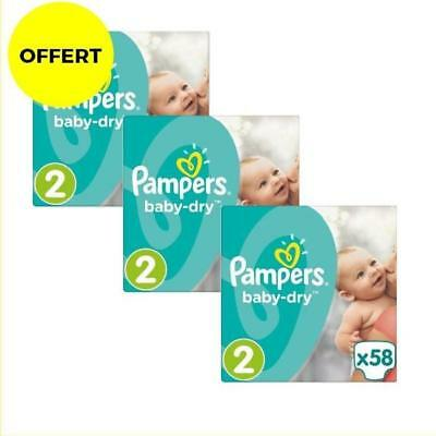 Pampers Baby Dry Taille 2 - Lot de 3 Géants - 174 couches