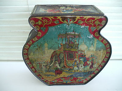 "RARE ANTIQUE ""DON CONFECTIONERY"" TIN / INDIAN ELEPHANT & SCENES OF EMPIRE 1800s"