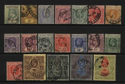 Sierra Leone Collection 19 KEVII / KGV Stamps (Unsorted wmks / Perfs) Used