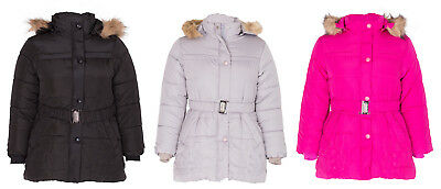 Girls Embroidered Floral Jacket Padded Quilted Belt Fur Hooded Coat Outerwear