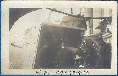 "RP Postcard - Arethusa Class Cruiser - HMS Galatea - 4"" Gun"