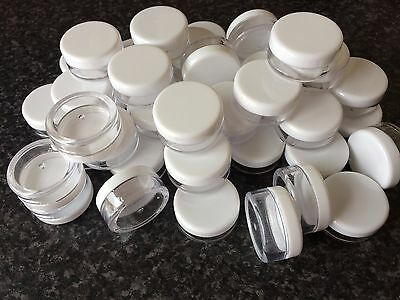 48 Clear Empty 5ml Plastic Cosmetic Containers Pot Jars Creams