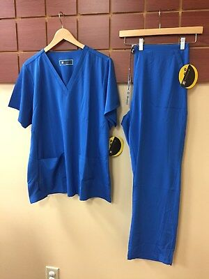 NEW Wink HP Royal Blue Solid Scrubs Set With XL Top & XL Pants NWT
