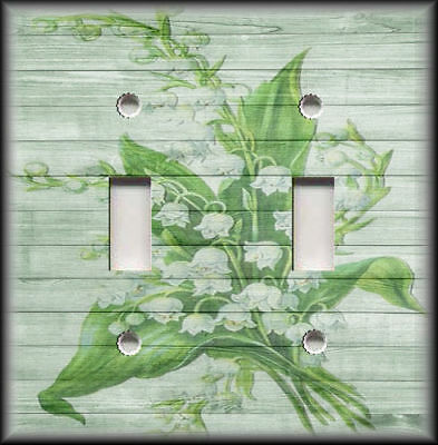 Metal Light Switch Plate Cover - Shabby Chic Floral Home May Bells Flowers Decor