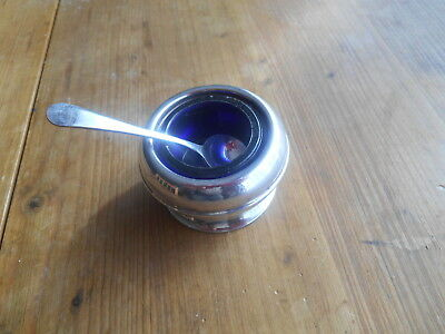 Vintage English Silver Plated Mustard Pot  Bristol Blue Glass Liner & Epns Spoon