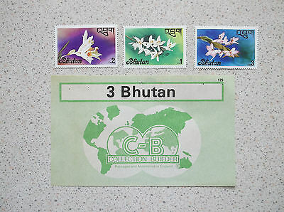 """3 x BHUTAN POSTAGE STAMPS 1976 """"FLOWERS"""" ISSUE ORCHIDS"""
