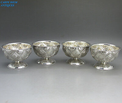 Antique Victorian Set 4 Embossed Solid Sterling Silver Pedestal Salts, Shef 1884