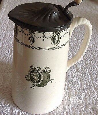 Royal Doulton Burslem England  Pitcher Jug With Pweter Lid Antique