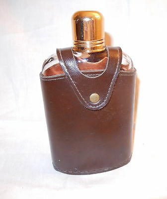 NICE VINTAGE SWANK LEATHER COVERED GLASS LIQUOR FLASK w SHOT CUP CAP L@@K