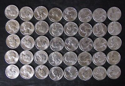 Roll (40) 90% BU Silver Washington Quarters Coins, mixed dates - No Reserve