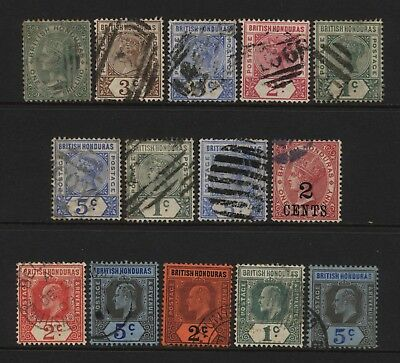 British Honduras Collection 14 QV / KEVII Stamps (Unsorted wmks / Perfs) Used