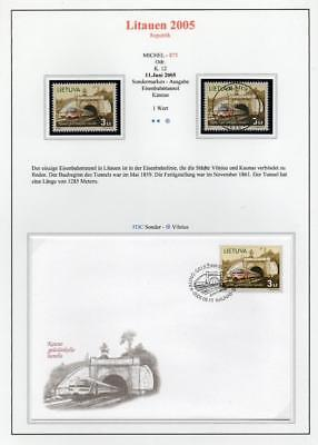 LITHUANIA 2005 MNH/USED-CTO/FDC SG861 Railway Tunnel between Vilnius and Kaunas