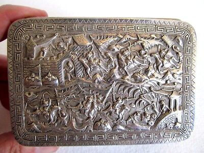Vintage Marked Sterling Silver Shanghi Trinket Box   Highly Detailed  Beautiful