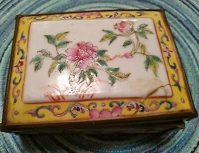 Antique Chinese Porcelain Hinged Box Marked Red China