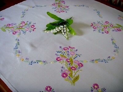 Vintage Hand Embroidered Tablecloth Spring Flowers Lily Of The Valley Bluebells