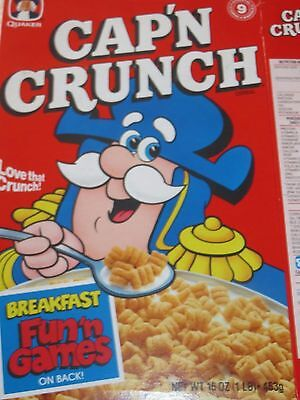 CAP'N CRUNCH 1990 VINTAGE CEREAL BOX Breakfast Fun 'n Games on Back