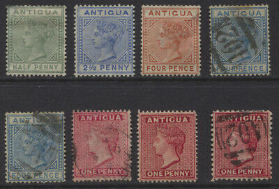 Antigua 1882 - 1886 QV MH / Used Crown CA Wmk Selection CV $81