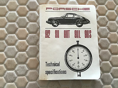 PORSCHE OFFICIAL 912 911 911T 911L 911S TECHNICAL SPECIFICATIONS BOOK 1968 NEW b