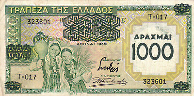 1000 Drachmai Very Fine Real Overprinted Banknote Greece 1939!pick-111!!