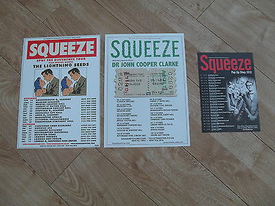 SQUEEZE - 3 different Lovely colour tour flyers (Mint) DIFFORD & TILLBROOK