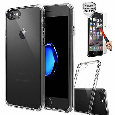 For iPhone 8 Plus Case Silicone Clear Bumper Rubber Shockproof + Tempered Glass