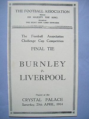 1914 FA Cup final programme Burnley v Liverpool in mint condition.