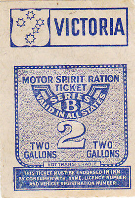 2 Gallons Fuel Ration Ticket From Victoria/australia Ww2!