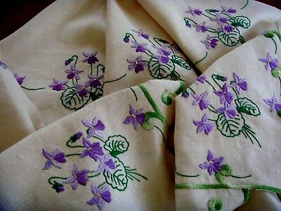Vintage Hand Embroidered Linen Floral Tablecloth Beautiful Violets Vgc