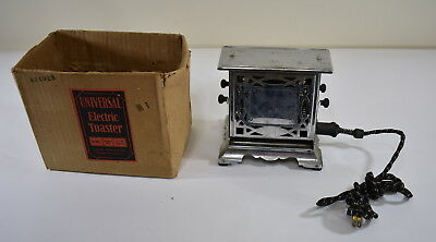 Vintage Manning-Bowman Art Deco Chrome Metal Universal Electric Toaster With Box