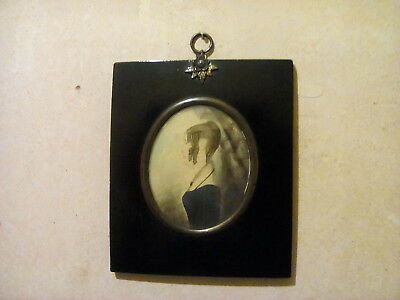Antique Silhouette Miniature watercolour Portrait, ebonised wood and brass -