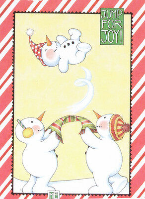 JUMP FOR JOY SNOWMAN-Handcrafted Christmas Magnet-Art by Mary Engelbreit