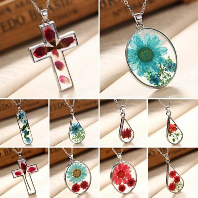 Real Natural Dried Rose Flower Drop Glass Pendant Necklace Sweater Jewellery New