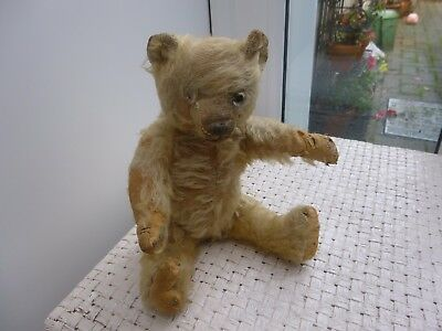 A Small Antique Mohair Jointed Teddy Bear-c1910.  9.5 Inches