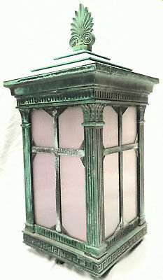 Monumental Vintage Copper & Brass Lantern Light Fixture Sconce Off Of A Building