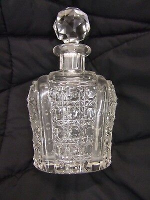 """Quality!! Antique Hobnail Cut Crystal Glass Perfume / Scent Bottle ~Large~ 6"""""""