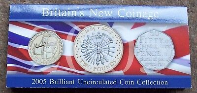 2005 Bunc Coin Collection, (£2, £1 & 50p) carded as issued by RM