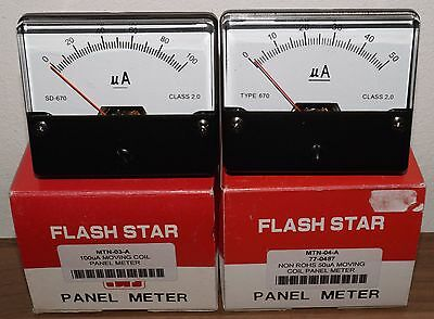 Pair of Moving uA coil panel meters BOXED NOS with mounting H/w