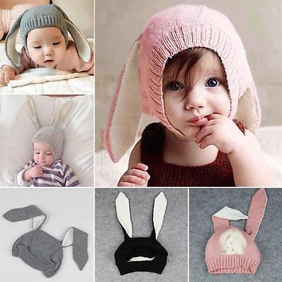Cute Rabbit Ears Hat Toddler Baby Kid Crochet Knitted Earflap Hat Warm Cap Z