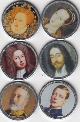 6 Colour Portrait Coins / Medals From The Westminster Collection, Kings & Queens