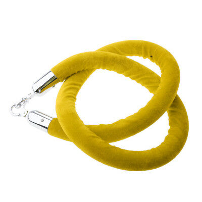 Yellow Queue Rope Barrier Velvet Rope Crowd Control with Silver Ends 1.5m