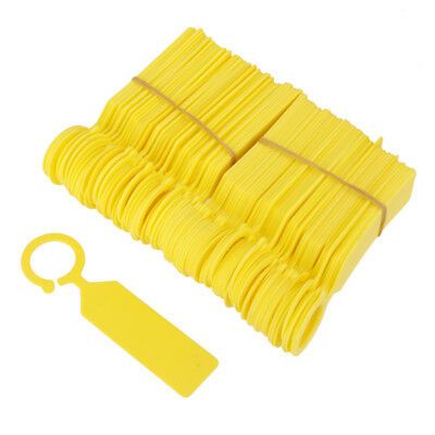 100pcs PP Tags Greenhouse Gardening Plant Ring Hanging Nursery Labels Yellow