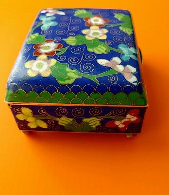 Blue Enamel Chinese Cloisonne Humidor Footed Box