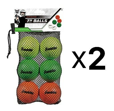 Franklin Youth White Green & Red Mini Practice Lacrosse Balls 6-Pack (2-Pack)