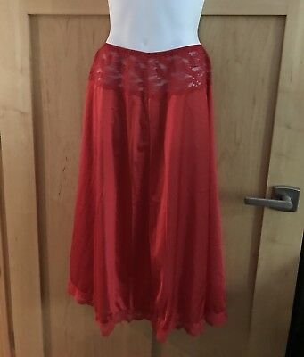 Vintage Ashley Taylor Red Antron Half Slip Lacy Flared M