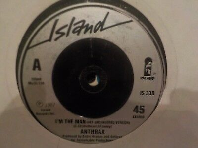 "Anthrax I'm The Man / Caught In A Mosh (Live) 1987 Thrash Rock Metal 7"" Vinyl"