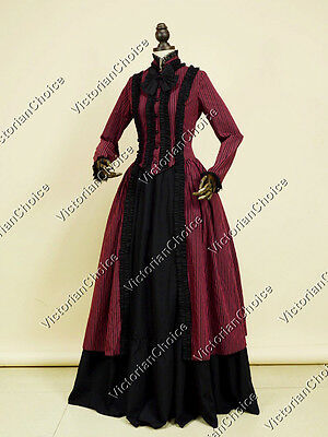 Victorian Gothic Stripe Penny Dreadful Dress Steampunk Theater Clothing N 175
