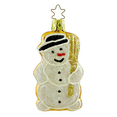 Inge Glas SNOWMAN COOKIE Blown Glass Ornament Christmas Gingerbread 68449