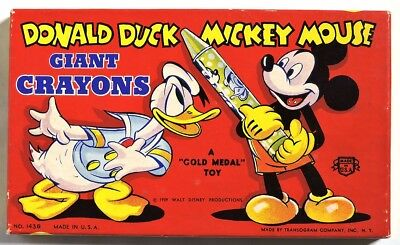 S493. Walt Disney's DONALD DUCK MICKEY MOUSE Giant Crayons by Transogram (1939)[